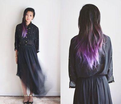 purple & silver tips dark hair
