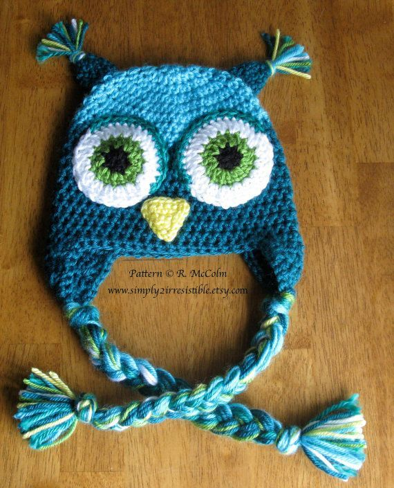Little Hoot Owl Hat Pattern Beanie and Earflap Pattern - Newborn to Adult. ~ PATTERN FOR SALE. Link correct when I checked on 04/01/2015