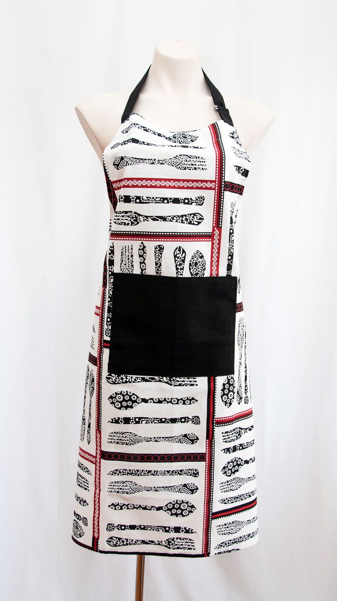 This designer apron is a trendy unisex design for both men or women with a handy black pocket. In crisp white with black knife and fork images and red borders. Buy this for yourself or give this as a gift to your husband or wife who loves to cook and is a Master Chef (or not :-)). This is a unique gift for men or women. The size is approximately 70 x 90cm and this is a quality cotton fabric. Available from Gorgeous Creatures.