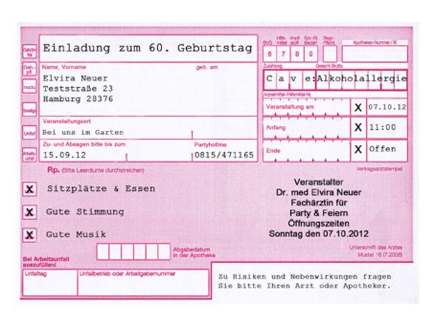 """Einladungskarten Geburtstag """"Waschanleitung"""""""