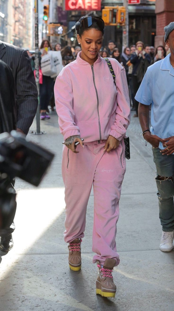 Rihanna, Sean john, outfit, make up, pink velour jumpsuit