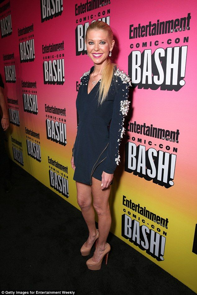 Legs eleven: Tara Reid, 40, showed off her very svelte frame on the black carpet for the Entertainment Weekly Comic-Con Bash in San Diego, California on Saturday