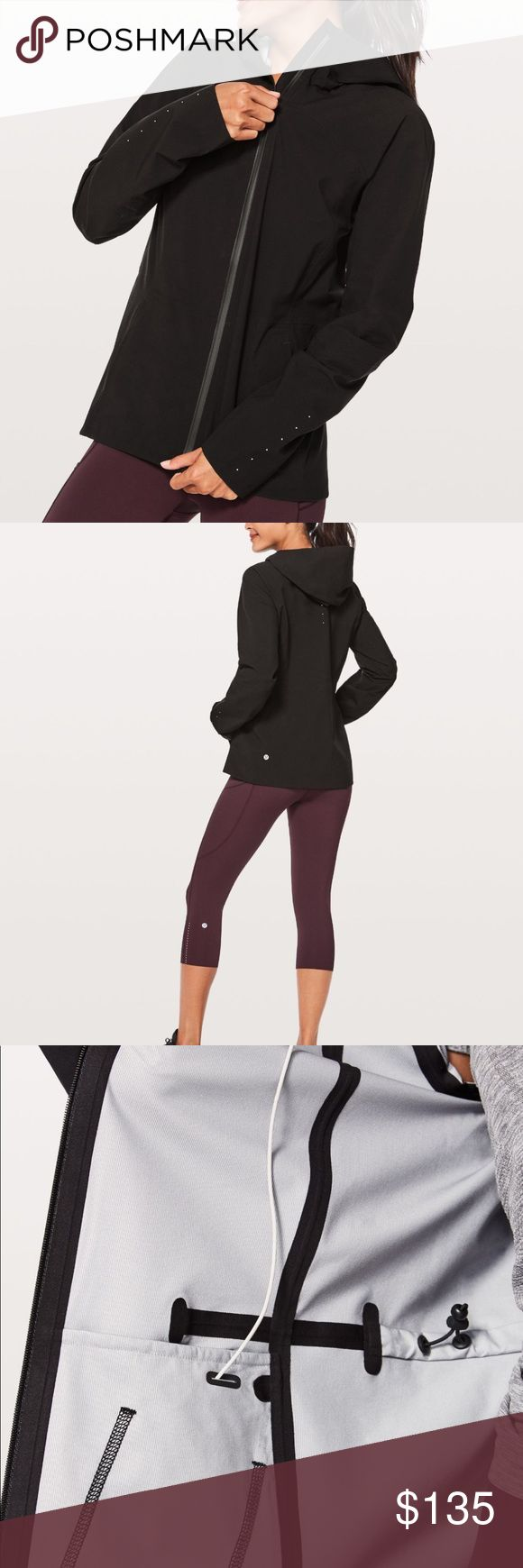 NWOT Lululemon Rain Rival Jacket Run outside in this seam-sealed jacket—even if the forecast calls for cold, wet weather glyde waterproof Glyde Waterproof fabric is breathable and jacket is strategically seam-sealed to keep moisture out. waterproof features Designed for: To + from Interior drawcord : Cinch the waist drawcord to customize your fit Shine-bright : Reflective detail Cinchable hood: To maintain peripheral vision Secure storage: Secure pockets for your essentials and a media…