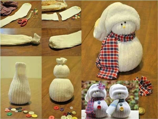 Snowman craft  Socks, plaid shirt sleeve, buttons, beans and/or rice scissors, hot glue