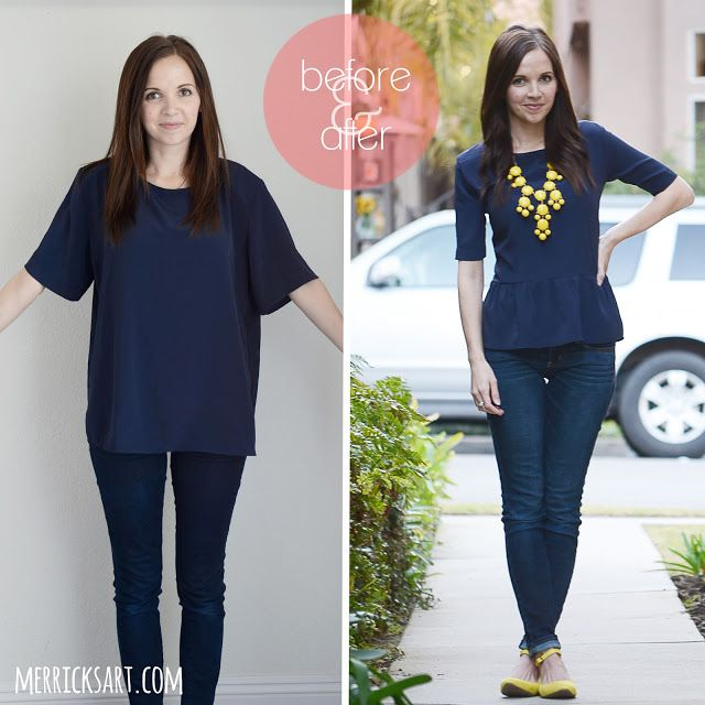 Before & After. Upcycle sewing tutorial. These oversized blouse are a dime a dozen at the thrift store!