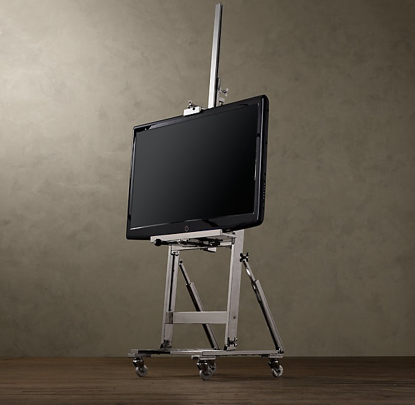 Polished Nickel TV Easel from Restoration Hardware. Love that you can crank to adjust the height of the TV.