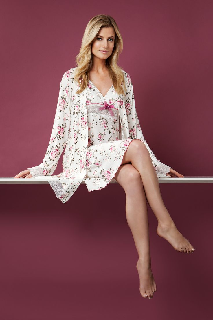 You can feel romantic & feminine in this soft  modal mix beautiful nightdress with matching floral morning gown.