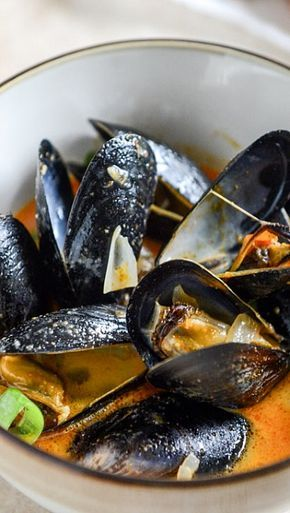 Steamed Mussels in a Coconut Curry Broth. I can't wait to try this dish. It sounds exactly like the Mussels I ate while in Maui. They were the best mussels I ever tasted. I'll report back.