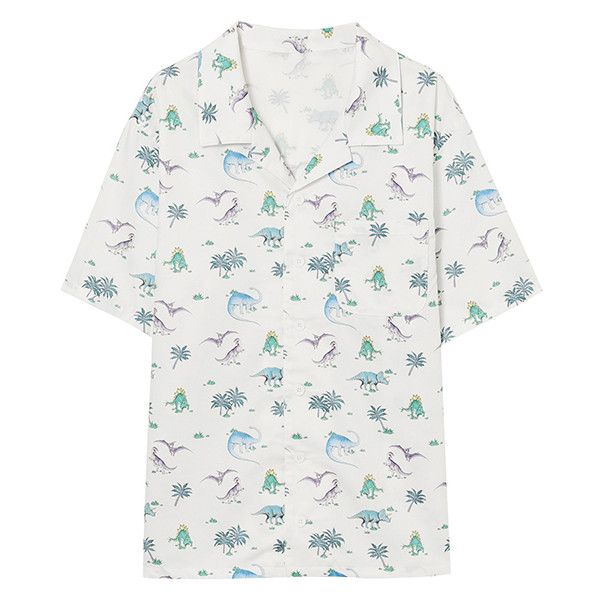 RAGE DINOSAURS SHIRT (9.680 RUB) ❤ liked on Polyvore featuring tops, dinosaur shirt, dinosaur top, white top, white shirt and white puffy shirt