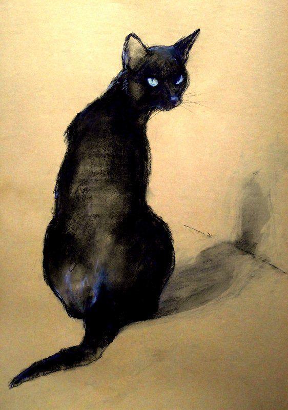 """""""Lukrécia"""" by Béla Tarcsay (Hungarian, b. 1952) #black-cat #cat #painting"""