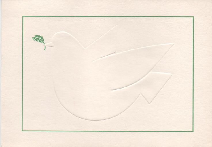 Used UNICEF Christmas card, Dove embossed with sprig of olive, c1980s, good shape by VintageNEJunk on Etsy