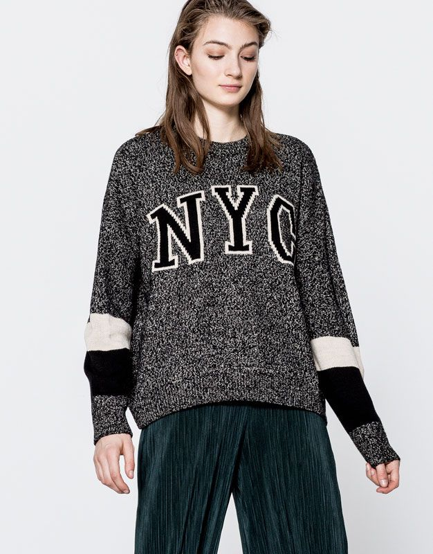 Twist knit text sweater - What's new - Clothing - Woman - PULL&BEAR Greece