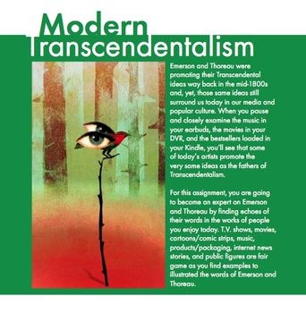 best edu transcendentalism images high school  modern transcendentalism connect thoreau emerson to to