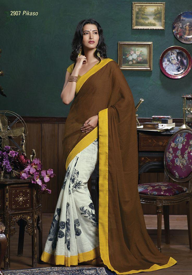 Printed White bhagalpuri saree gives classy look with brown chiffon pallu & yellow border patta