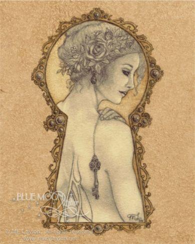 Mistress of the Key - art nouveau faery key signed print - Mary Layton via Etsy