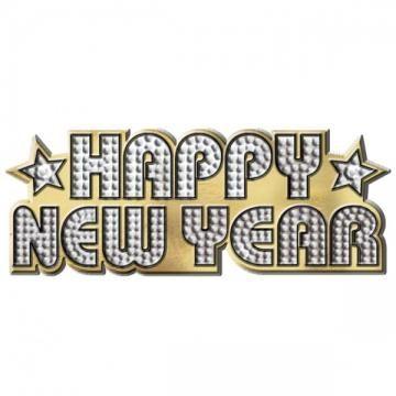 Prsteň trblietavý, HAPPY NEW YEAR, 9cm x 3,5cm