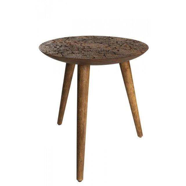 Petite table ronde bois sculptée By HAND