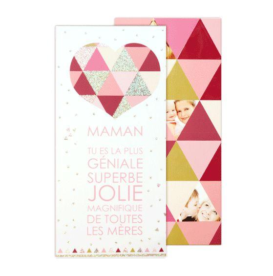 Une carte à personnaliser avec vos photos et votre message pour souhaiter une joyeuse fête des mères à votre maman. Une carte brillante avec des paillettes au recto et du vernis.
