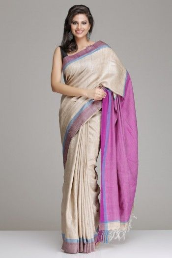 Beige Hand-Woven Tussar Silk Saree With Purple Border And Pallu