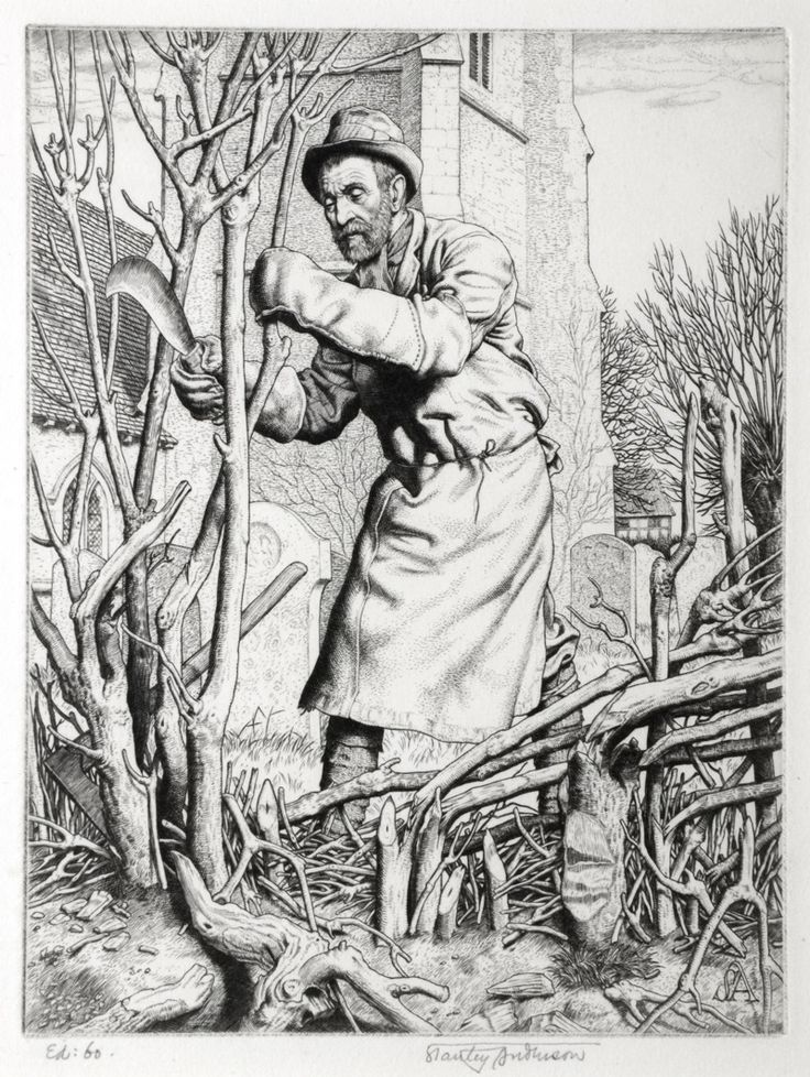 THE HEDGER by Stanley Anderson (British 1884-1966) - engraving