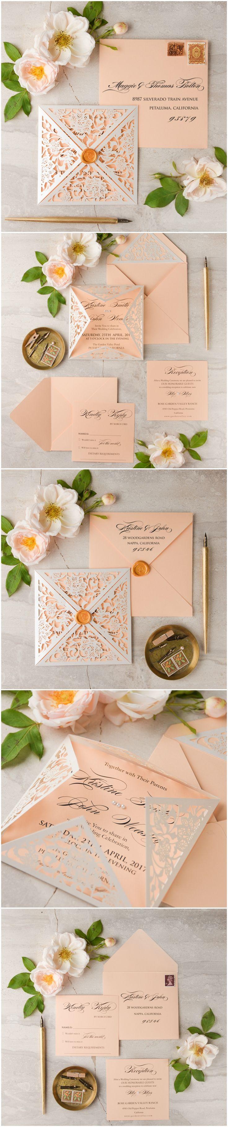 Peach Laser cut Wedding Invitation calligraphy