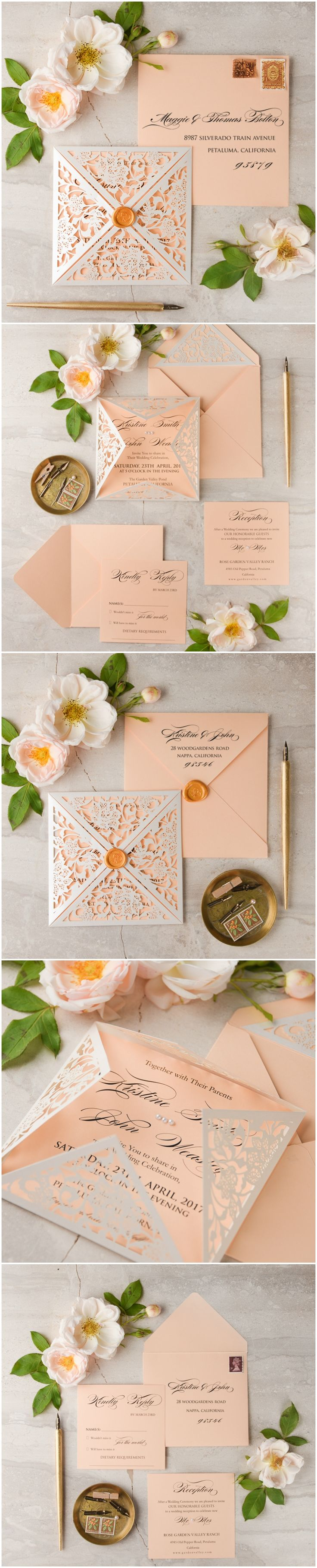 Peach Laser cut Wedding Invitation - calligraphy printing, wax stamping #peach #blush #romantinc #weddingideas #invitations #elegant