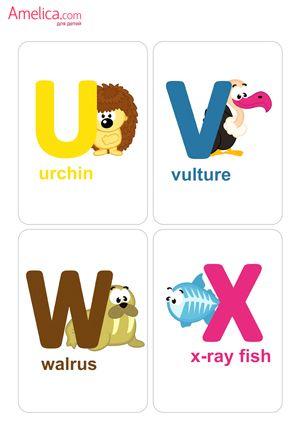 Английский алфавит распечатать для детей в картинках, карточки с английскими буквами и постер на стену скачать бесплатно
