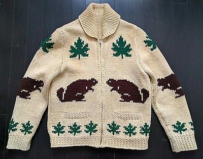 Vintage Handmade Cowichan Curling Sweater M Beaver 100% Wool Cardigan Maple Leaf