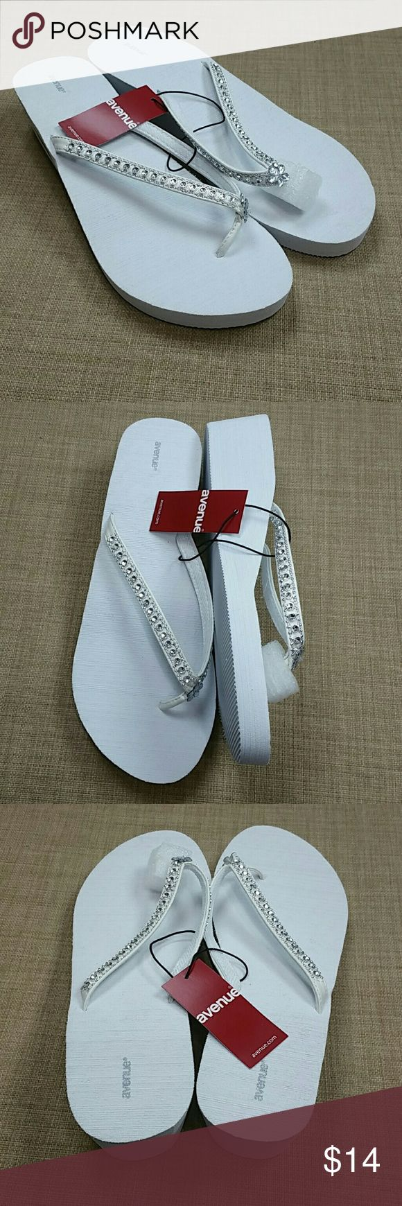 "Avenue White Wedge Flip Flops Size 10W 11W They are a size 11w/12w wide width. Has 2"" heel. Add to a bundle to receive 20% off 3 or more items. Offers welcomed. Avenue Shoes"