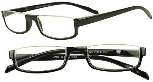 f51fdc1428 Sunglass Stop - Light Weight Rectangle Half Frame Reading Glasses Optical  Magnification Readers (Black