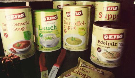 GEFRO Suppe & Universalgewürz ;GEFRO Tomatensoße & Suppe, Gourmet Lauch Cremesuppe, GEFRO Kartoffelsuppe und GEFRO Edelpilz Cremesuppe.