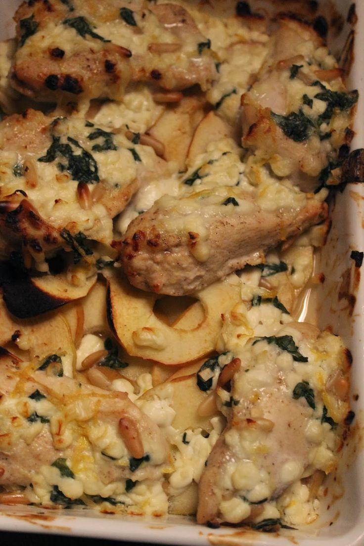 Kylling med æbler og hytteost