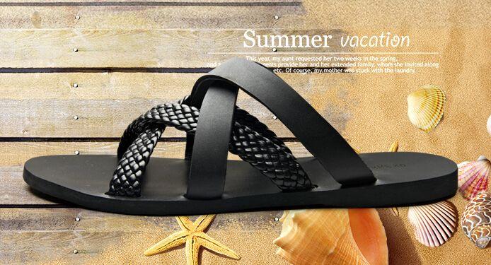 2015 estate stile gladiatore sandali uomo scarpe scivolare sulla spiaggia pantofole 2 colori maglia espadrillas appartamenti zapatos hombre diapositive vendite(China (Mainland))