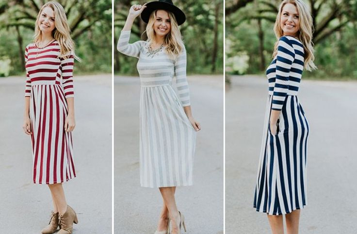 GroopDealz | 3/4 Sleeve Striped Midi Dress - 5 Colors!