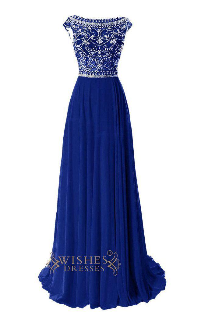 O Neckline Gorgeous Beaded Bodice Red Chiffon Long Prom Dresses Am18