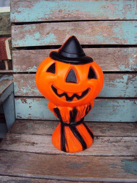 Vintage Halloween Pumpkin Jack O Latern Haystack Blow Mold Empire Plastic Light 1960s