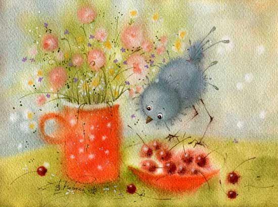 """""""Grey birdie"""" by Victoria Kirdiy"""