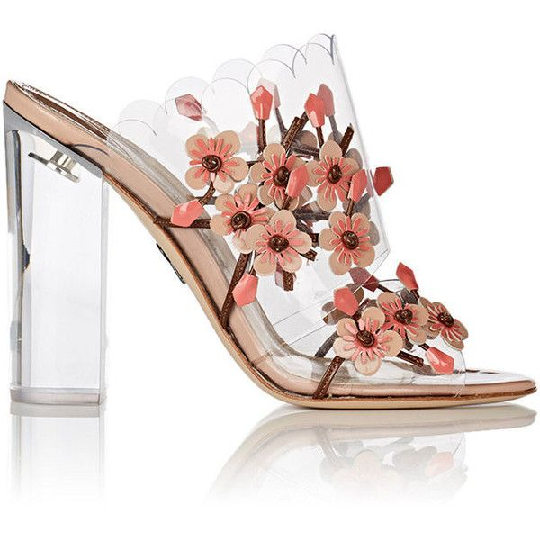 Paul Andrew Women's Blossom PVC Mules (8.011.620 IDR) ❤ liked on Polyvore featuring shoes, pink, high heel shoes, block heel shoes, high heel mule shoes, open toe shoes and open toe mules