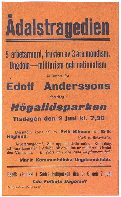 Meeting about the murder of five Swedish workers in Ådalen 1931.