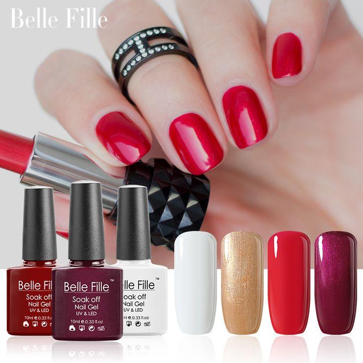 Belle Fille Gel Nail Polish Gold Bling Shining Gels UV LED Blood Red Wine Nail Gel Polish Golden Glitter UV Gel Manicure Art