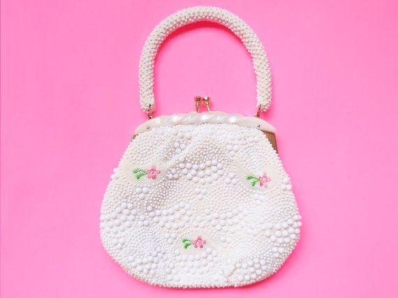 vintage 1960s white plastic beaded purse with by starseedvintage