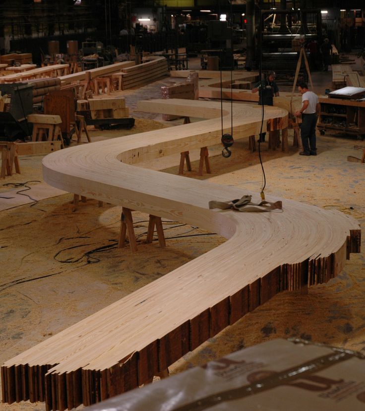 S arches in the plant for a glulam barn by Unalam
