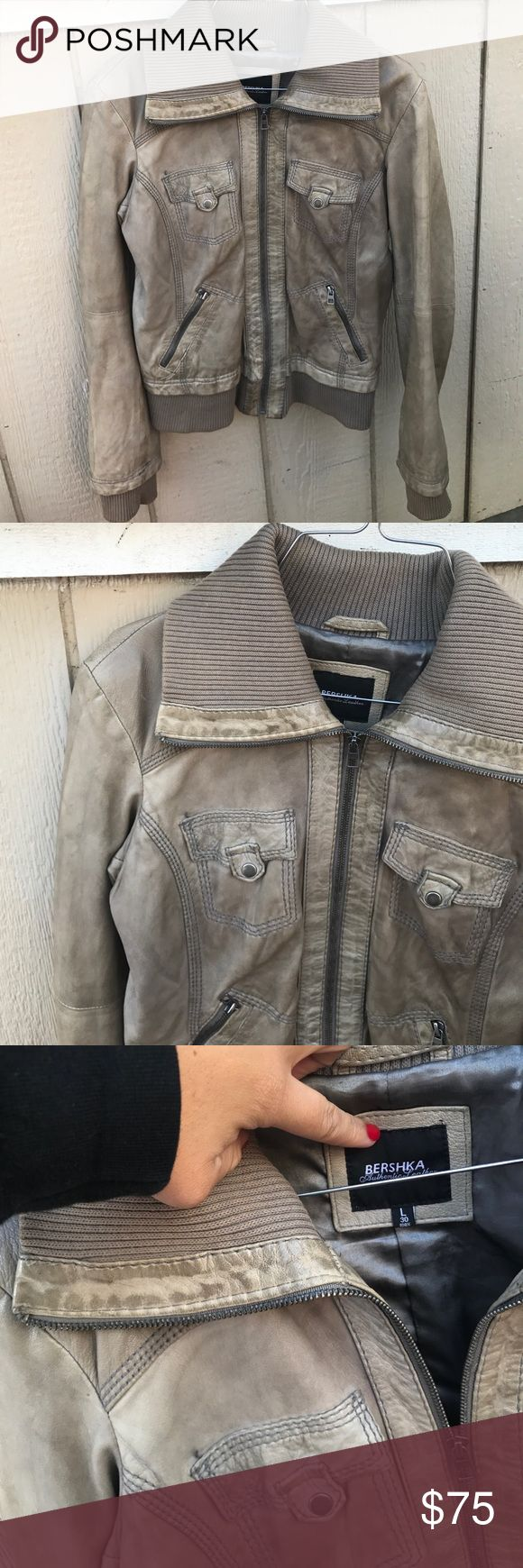 BERSHKA SZ L LEATHER JACKET TAUPE BEIGE ZIP UP Super cute and great condition Bershka Jackets & Coats