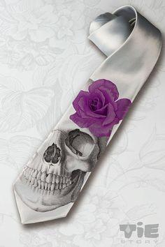 Menu0027s Gothic Wedding Necktie. Dia De Los Muertos Necktie With Purple Rose.  Horror Skeleton Hipster Necktie. Halloween Party Gray Necktie