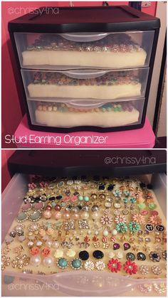 Stud Earring Organizer by @Chrissytna // I saw another pin about this & had to try this. I bought a small drawer container & cut out craft foam to fit inside the drawers. The stud earrings easily push through the foam, giving an organized and pretty way to display stud earrings.