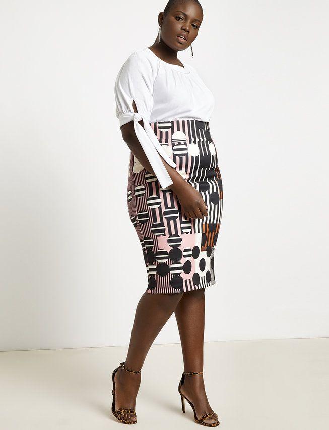 Neoprene Pencil Skirt | Women\'s Plus Size Skirts | Plus Size ...