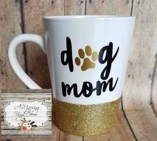 Dog Mom Glitter Dipped Coffee Mug