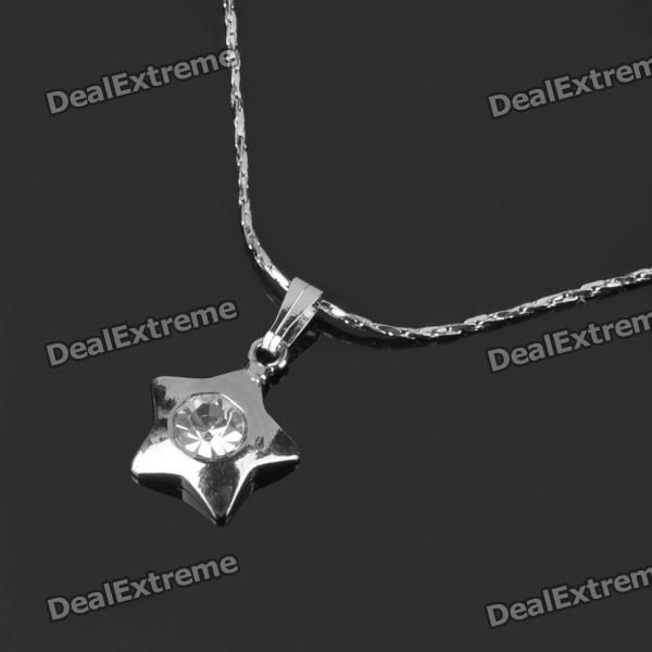 Five-Point Star Design Crystal Diamond Necklace + Earrings + Ring Jewelry Set