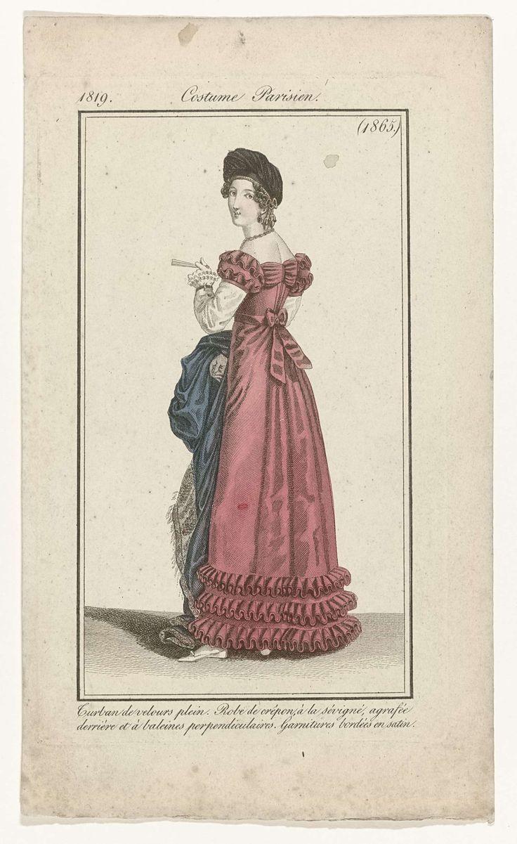 Journal des Dames et des Modes, Costume Parisien, 15 décembre 1819, (1865): Turban de velours plein..., anoniem, Pierre de la Mésangère, 1819