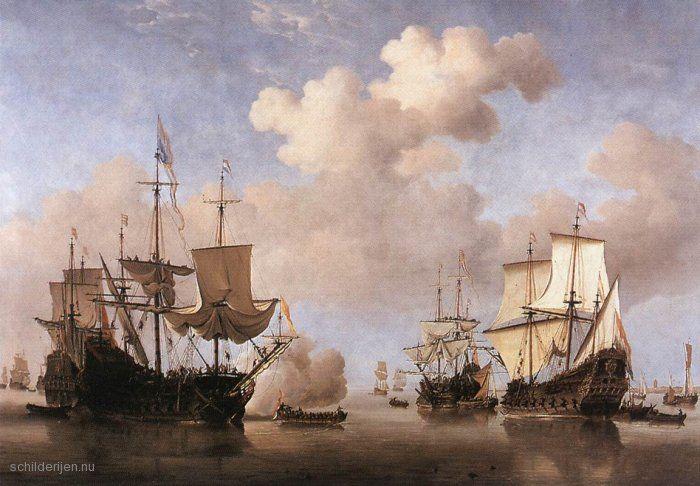 """Painting """"Kalm: Nederlandse schepen die voor anker gaan"""" by Willem van de Velde (de Jonge) - www.schilderijen.nu"""